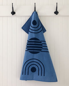 Tea Towel Arc Navy on Blue