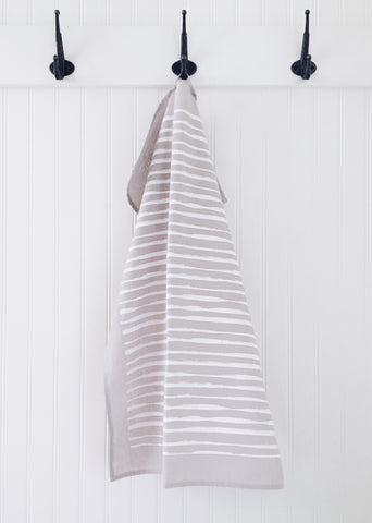 Tea Towel Lines (White on Warm Grey)