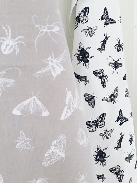 Tea Towel Bugs (White on Warm Grey)