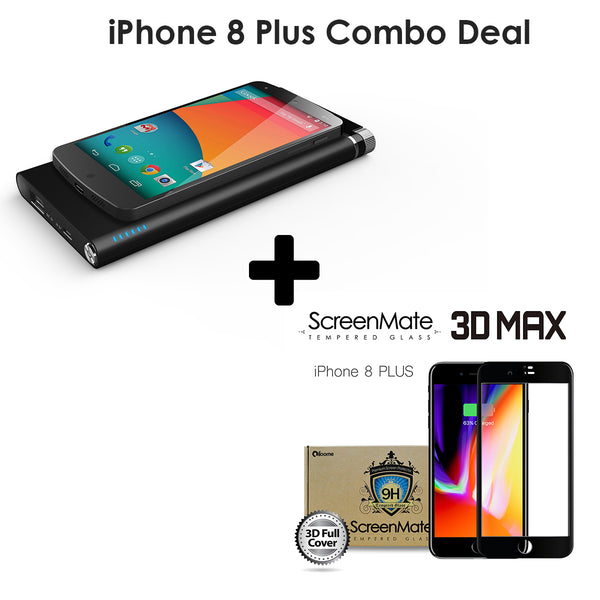 [iPhone 8 Plus Combo Deal] ScreenMate 3D Screen Protector + Qi Wireless Charger