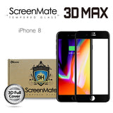 iPhone 8 ScreenMate 3D Max Full Cover Tempered Glass - Black