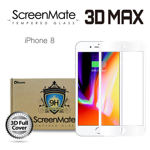 iPhone 8 ScreenMate 3D Max Full Cover Tempered Glass - White