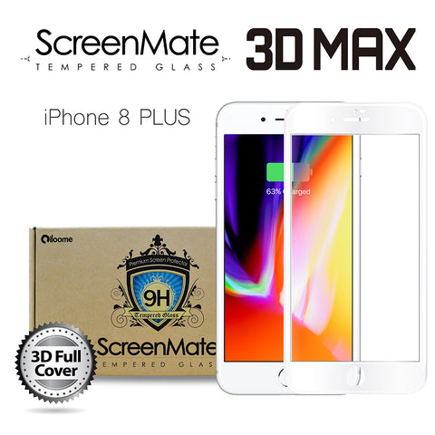 iPhone 8 Plus ScreenMate 3D Max Full Cover Tempered Glass - White