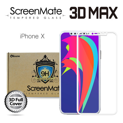 iPhone X ScreenMate 3D Max Full Cover Tempered Glass - White