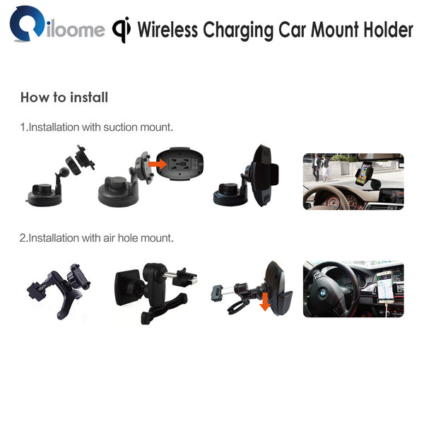 Qi Wireless Charging Car Mount Holder