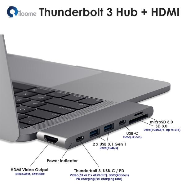 "iloome - Thunderbolt 3 All-in-One Hub for 2016/2017 MacBook Pro 13"" and 15"""