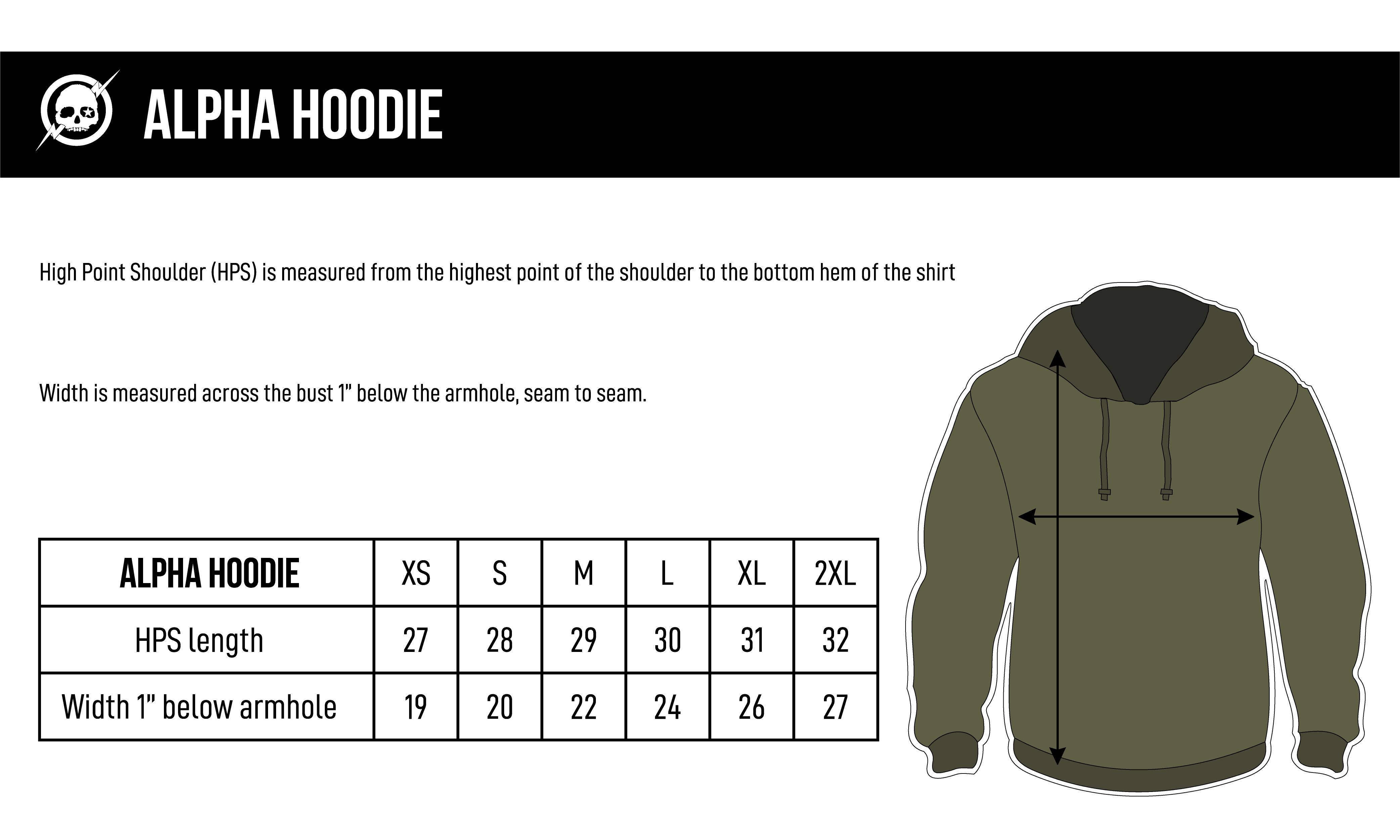 Alpha Hoodie Size Chart