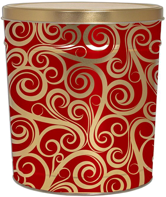 Kettle Corn Tin Golden Swirls 3.5 Gallon