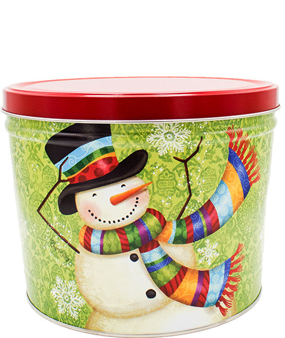Jolly Snowman Gift Tin - 2 gallon -  Kettle Corn or Kettle Corn/Maple Bourbon Kettle Corn Combo