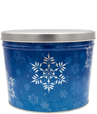 Snow Flake Gift Tin - 2 Gallon - Kettle Corn or Kettle Corn/Maple Bourbon Combo