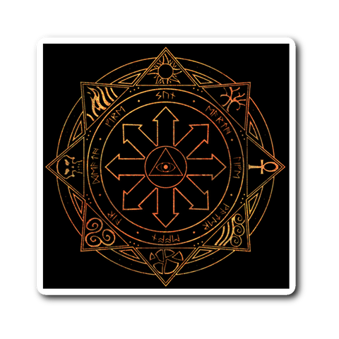 "Fiery Magic Sigil 3"" Square Vinyl Sticker"