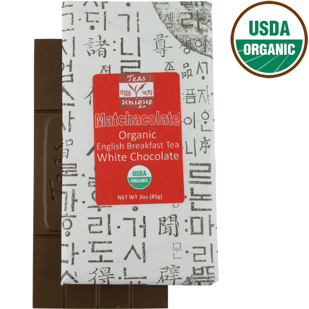 Matchacolate Organic English Breakfast Tea Chocolate Bar, 3oz (85g)