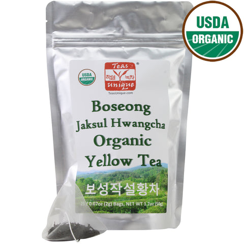 Boseong Jaksul Organic Yellow Tea in Tin, 25 Tea Bags (50g)
