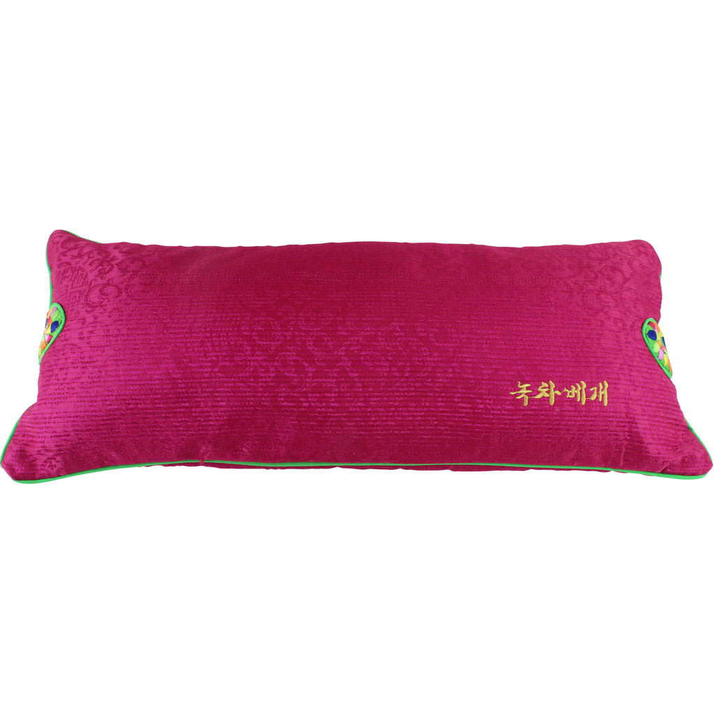 Korean Traditional Pillow with Green Tea Filling, Fuchsia Pink Cover