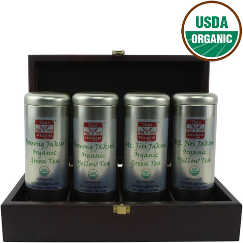 Boseong and Mt. Jiri Organic Tea Luxury Wood Box, 4 Green and Oxidized Teas in Tins, 80 Tea Bags