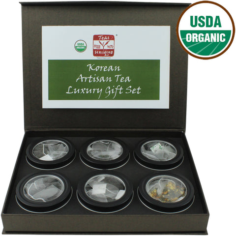 Korean Organic Tea Luxury Box, 6 Green and Oxidized Teas in Tins, 30 Tea Bags