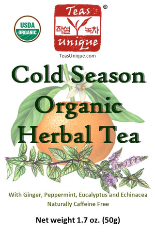 Cold and Flu Relief Organic Herbal Tea with Lemon, Ginger and Echinacea