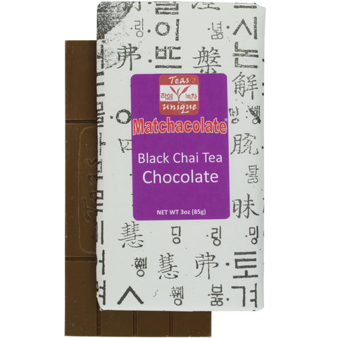 Matchacolate Black Chai Tea Chocolate Bar, 3oz (85g)