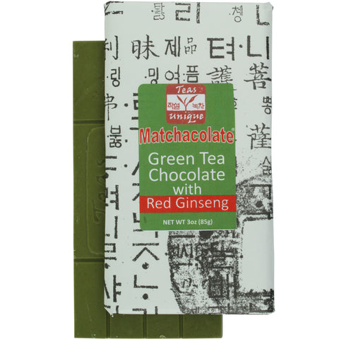 Matchacolate Green Tea Matcha with Red Ginseng Chocolate Bar, 3oz (85g)