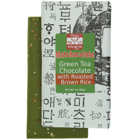 Matchacolate Green Tea Matcha with Roasted Brown Rice Chocolate Bar, 3oz (85g)
