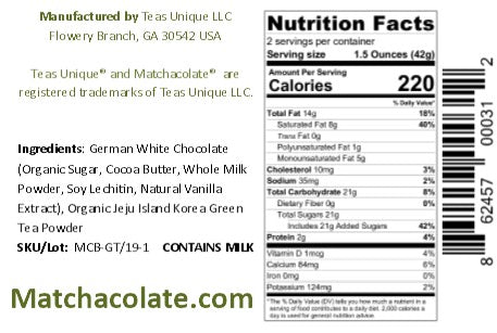 Matchacolate Green Tea Matcha Chocolate Bar, 3oz (85g)