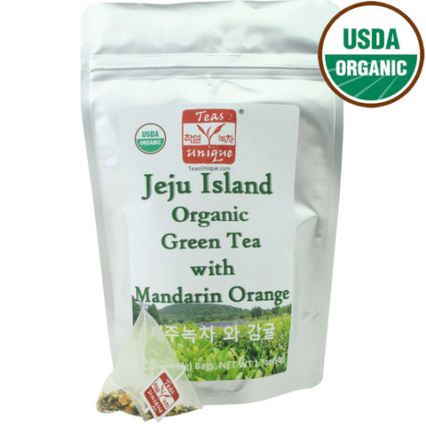 Jeju Island Organic Green Tea with Mandarin Orange, 25 Tea Bags (50g)
