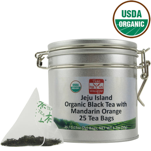 Jeju Island Organic Black Tea with Mandarin Orange in Tin, 25 Tea Bags (50g)