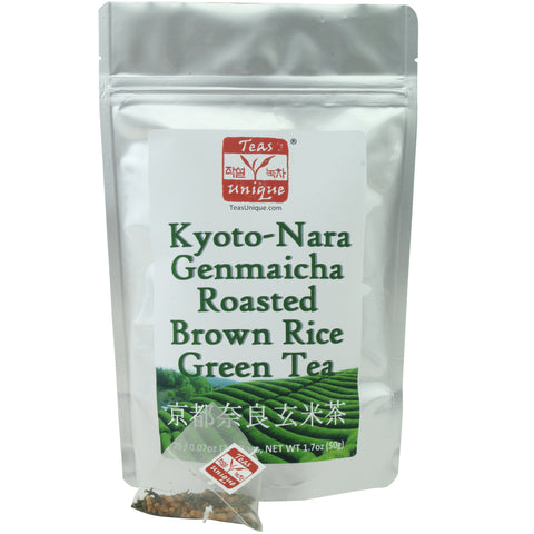 Kyoto-Nara Genmaicha Green Tea with Roasted Brown Rice, 25 Tea Bags (50g)