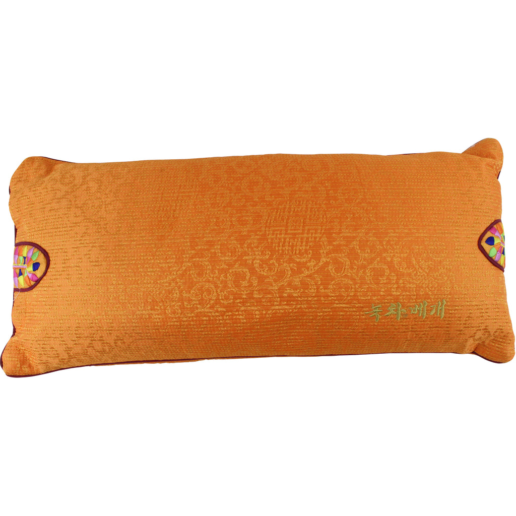 Korean Traditional Pillow with Green Tea Filling, Orange Cover