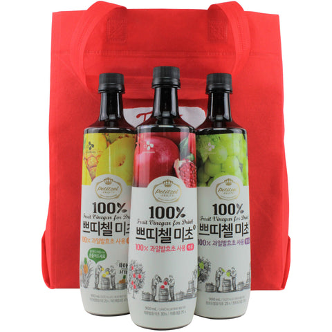 Korean CJ Petitzel Fruit Vinegar Drink Concentrate, 3 Bottle Set: Green Grape, Pineapple and Pomegranate