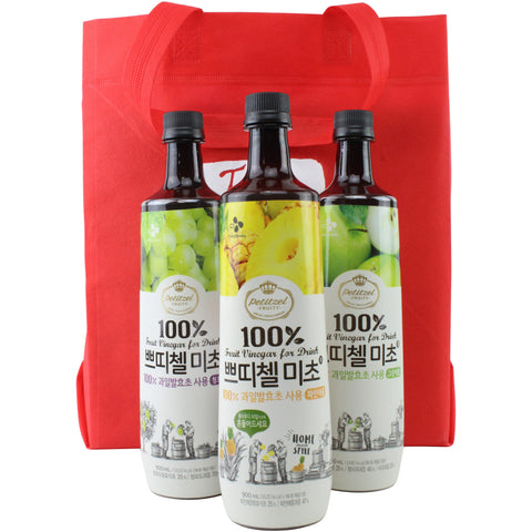 Korean CJ Petitzel Fruit Vinegar Drink Concentrate, 3 Bottle Set: Green Apple, Green Grape and Pineapple