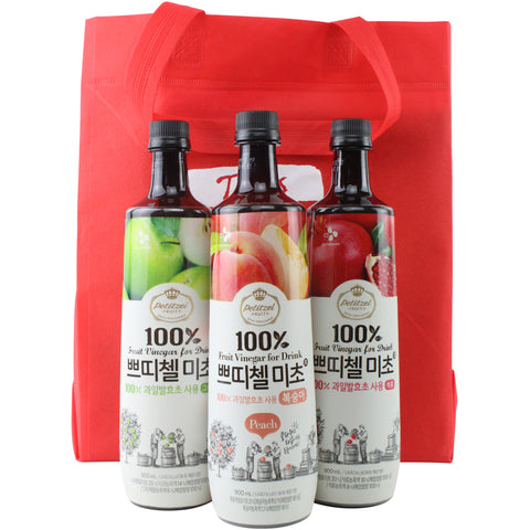 Korean CJ Petitzel Fruit Vinegar Drink Concentrate, 3 Bottle Set: Green Apple, Peach and Pomegranate