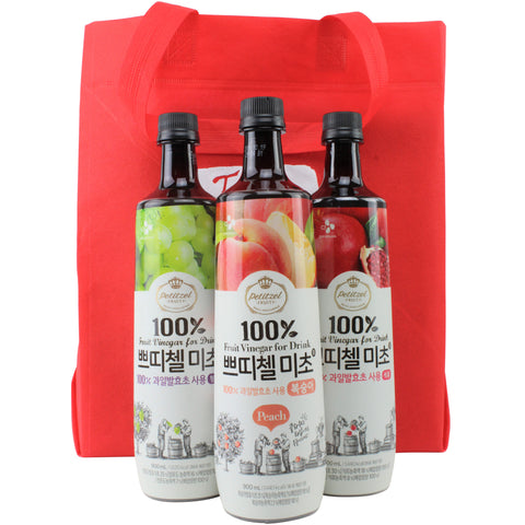 Korean CJ Petitzel Fruit Vinegar Drink Concentrate, 3 Bottle Set: Green Grape, Peach and Pomegranate