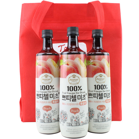 Korean CJ Petitzel Fruit Vinegar Drink Concentrate, 3 Bottle Set: Peach
