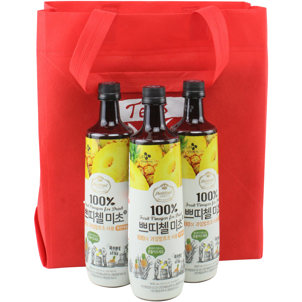 Korean CJ Petitzel Fruit Vinegar Drink Concentrate, 3 Bottle Set: Pineapple
