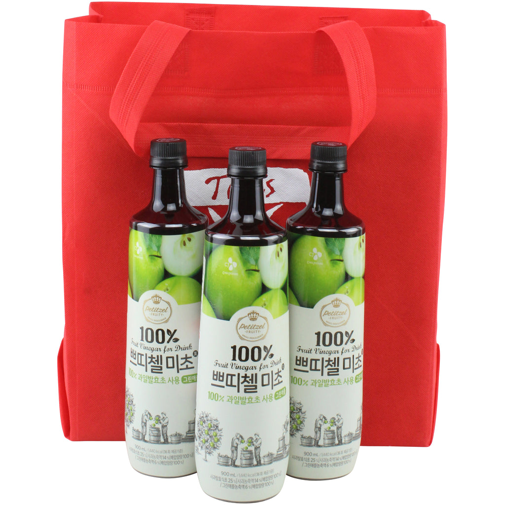 Korean CJ Petitzel Fruit Vinegar Drink Concentrate, 3 Bottle Set: Green Apple