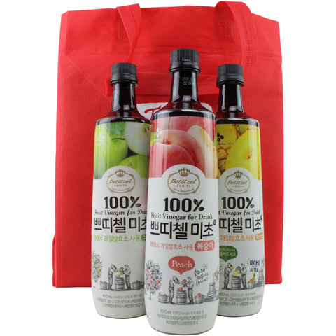 Korean CJ Petitzel Fruit Vinegar Drink Concentrate, 3 Bottle Set: Green Apple, Peach and Pineapple