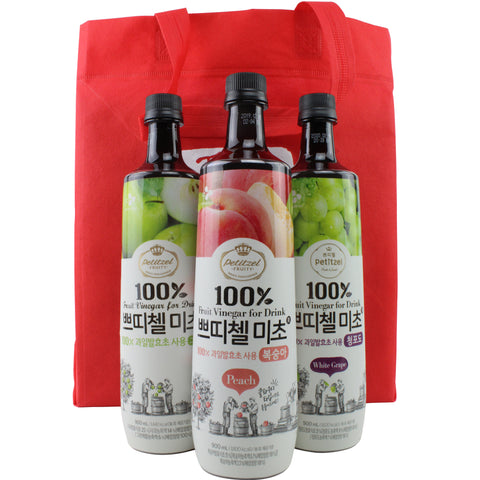 Korean CJ Petitzel Fruit Vinegar Drink Concentrate, 3 Bottle Set: Green Apple, Green Grape and Peach