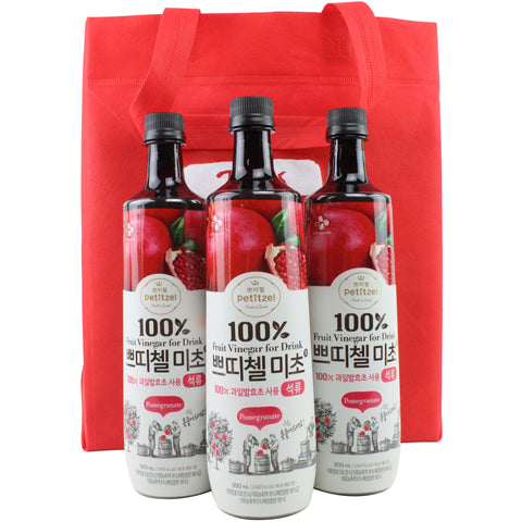 Korean CJ Petitzel Fruit Vinegar Drink Concentrate, 3 Bottle Set: Pomegranate