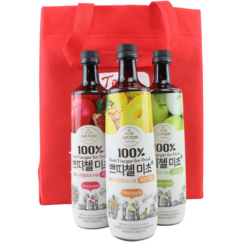Korean CJ Petitzel Fruit Vinegar Drink Concentrate, 3 Bottle Set: Green Apple, Pineapple and Pomegranate