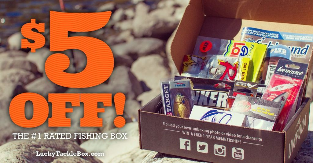 Lucky Tackle Box $5 off your LTB fishing subscription box for the best baits and lures delivered to your door each month.