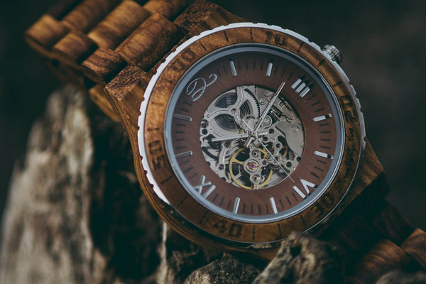 Designer Zebra Wood Self-Charging Watch
