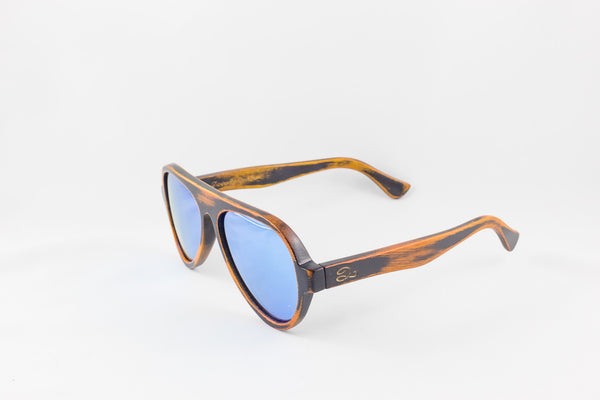 Bamboo Stain & Ice Blue Aviators