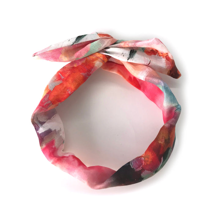 Le torsadé imprimé sur lin / The Printed Linen Twisted Headband
