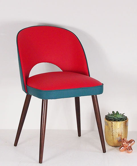 The New Fernandina Desk and Dining Chair in Red and Teal Matara