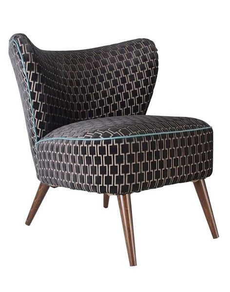 New Bartholomew Vintage Style Cocktail Chair in Bakerloo Eclipse Grey