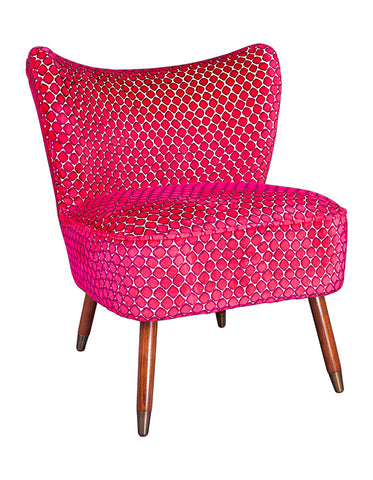 New Bartholomew Vintage Style Cocktail Chair in Fenelle Rose Velvet