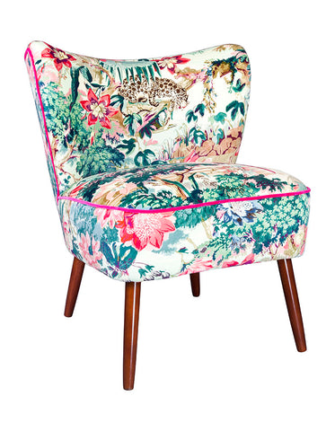 New Bartholomew Vintage Style Cocktail Chair in Jungle Rumble Velvet