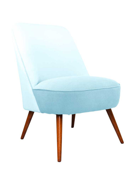 New Slipper Cocktail Chair In Aqua Linen