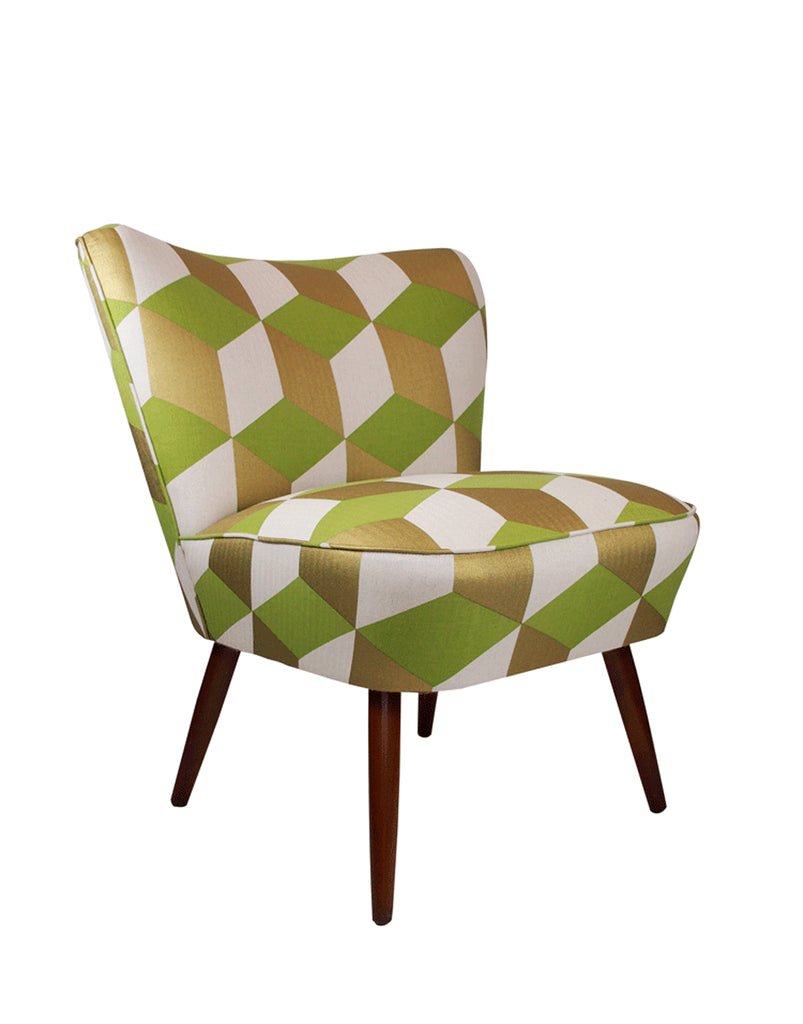 Galapagos Bartholomew Chair in Cubes Grass and Gold